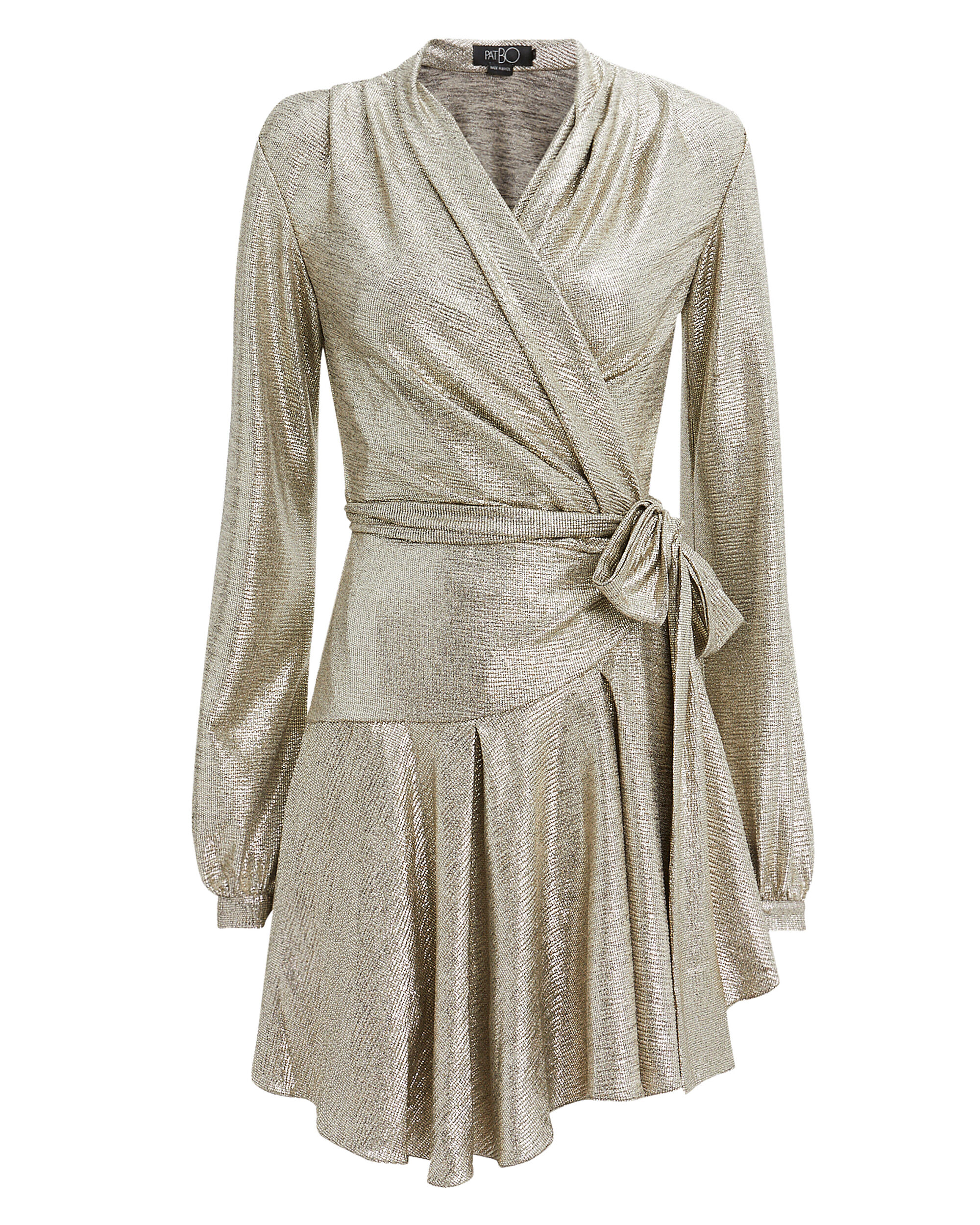 Lamé Wrap Mini Dress, GOLD, hi-res