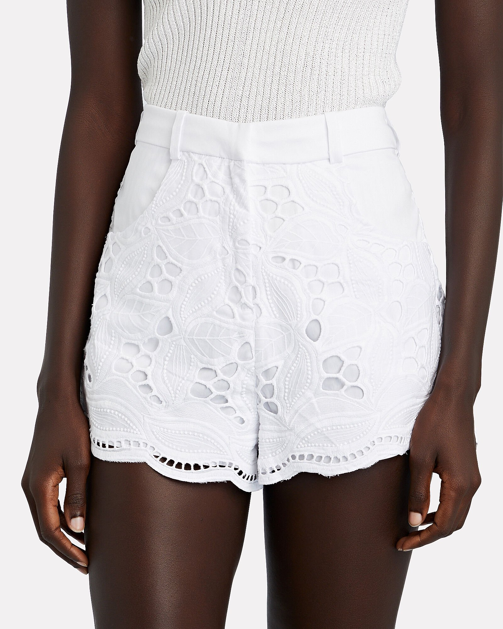 Bowes Broderie Anglaise Shorts, WHITE, hi-res