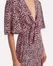 Tie Front Leopard Silk Dress, MULTI, hi-res