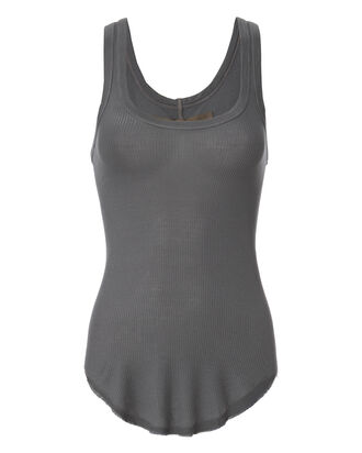 Ribbed Baseball Grey Tank, GREY, hi-res