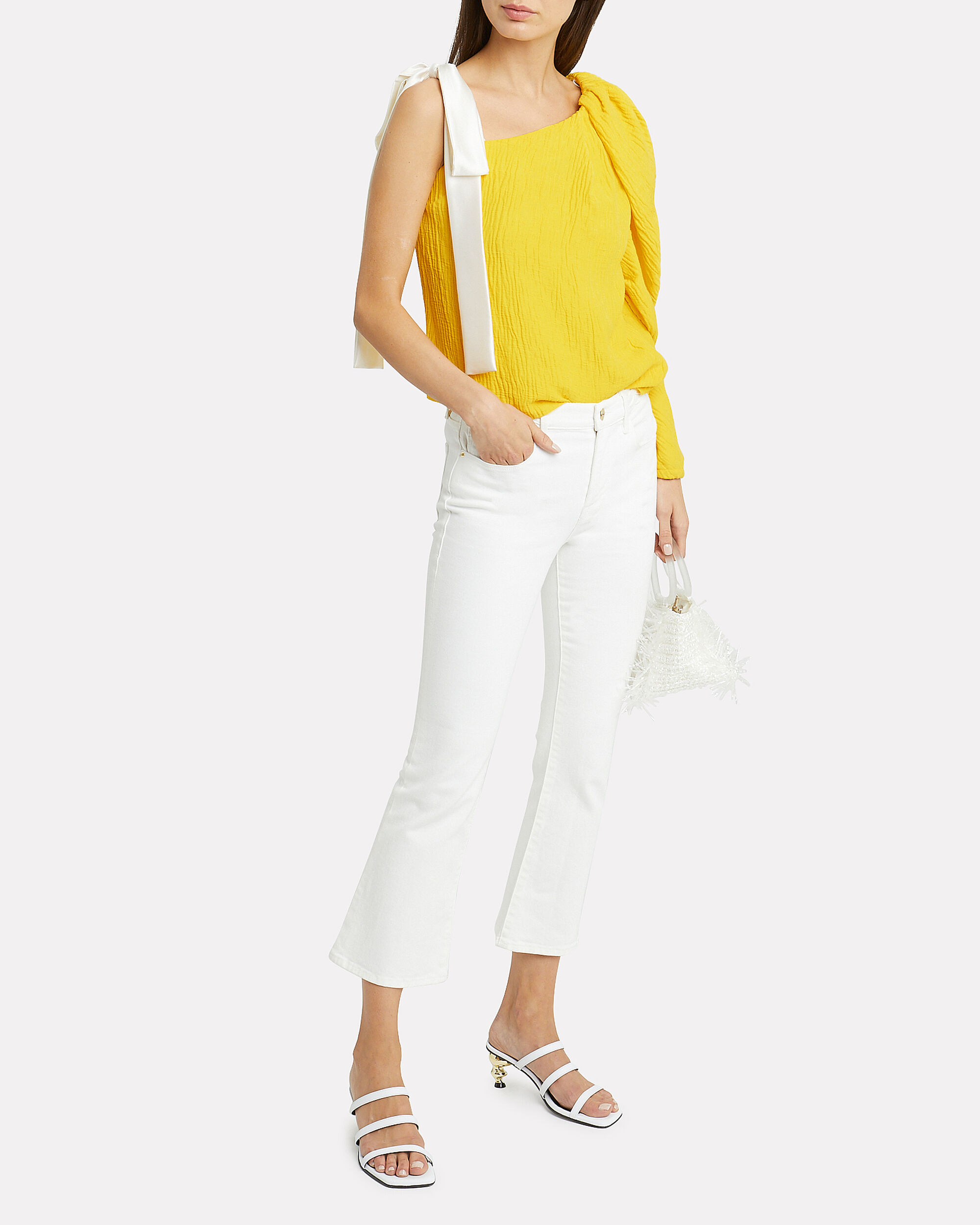 Cooper One Shoulder Puff Sleeve Top, YELLOW/WHITE, hi-res