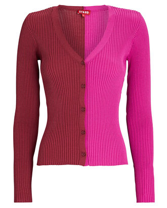 Cargo Color Block Cardigan, RED/PINK, hi-res