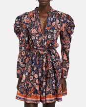 Naima Printed Puff Sleeve Dress, CORAL/CHARCOAL, hi-res