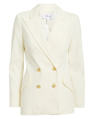 Rodeo Double-Breasted White Blazer, WHITE, hi-res