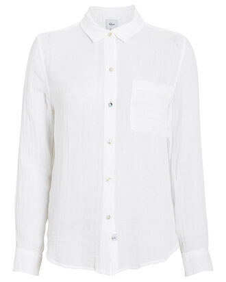 Hadley White Gauze Button Down Shirt, WHITE, hi-res
