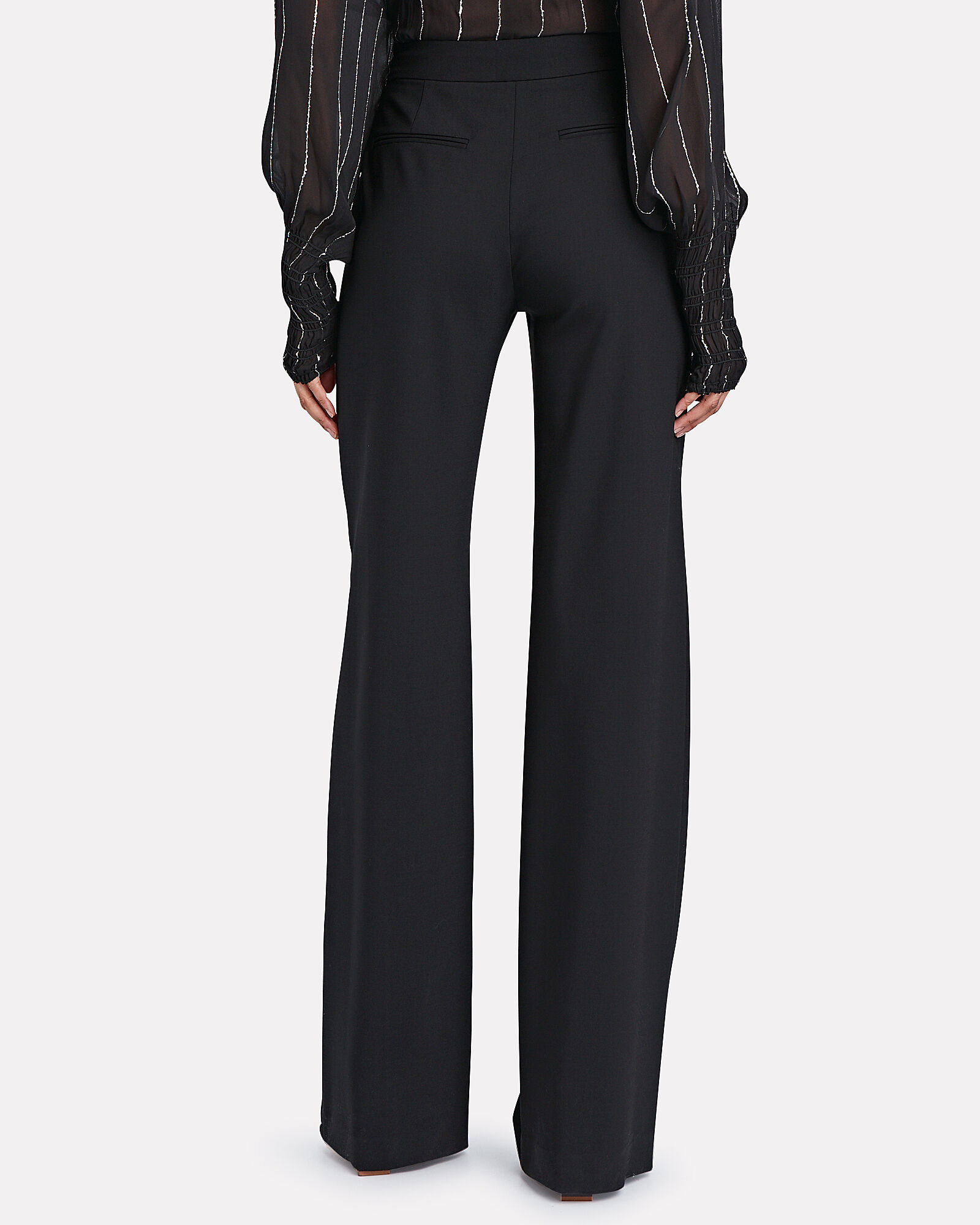 Pintuck Pleated High-Rise Trousers, BLACK, hi-res
