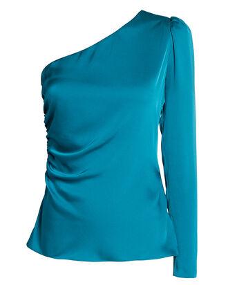 Ramona Silk One-Shoulder Top, BLUE-MED, hi-res