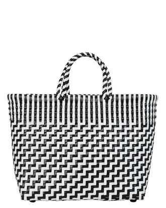 Woven Black And White Tote, BLK/WHT, hi-res