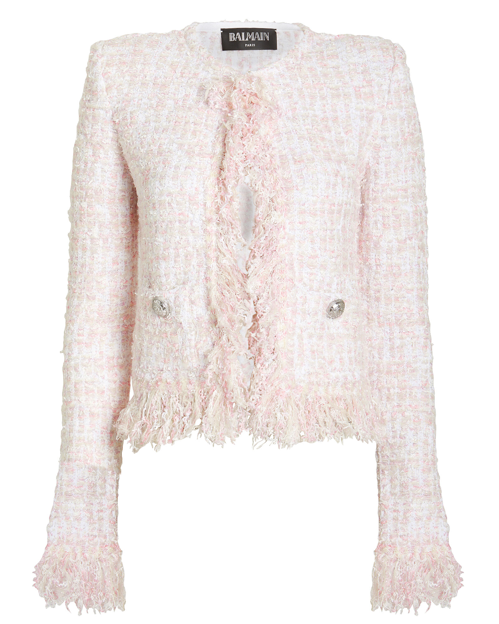 Cropped Tweed Suiting Jacket, PINK, hi-res