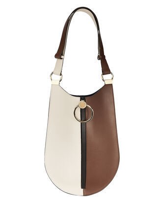 Oval Colorblock Shoulder Bag, TAN/BLACK/WHITE, hi-res