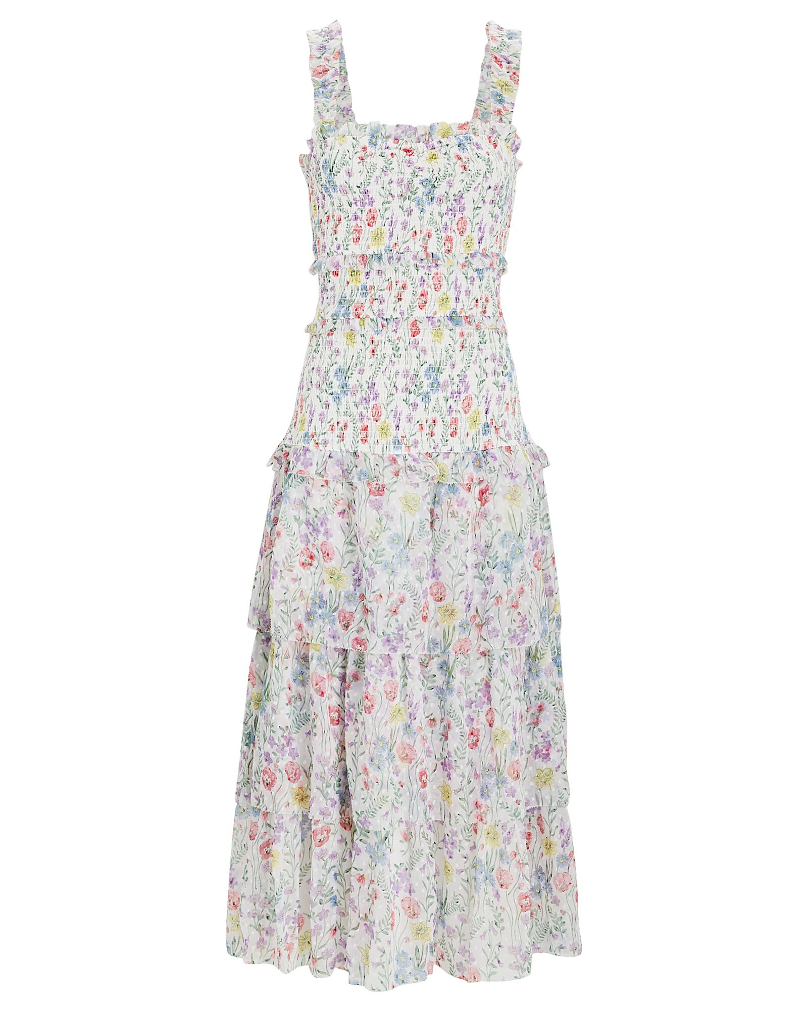 Leanna Smocked Floral Midi Dress, WHITE, hi-res