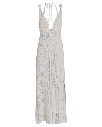 Remi Crochet Cotton Midi Dress, WHITE, hi-res