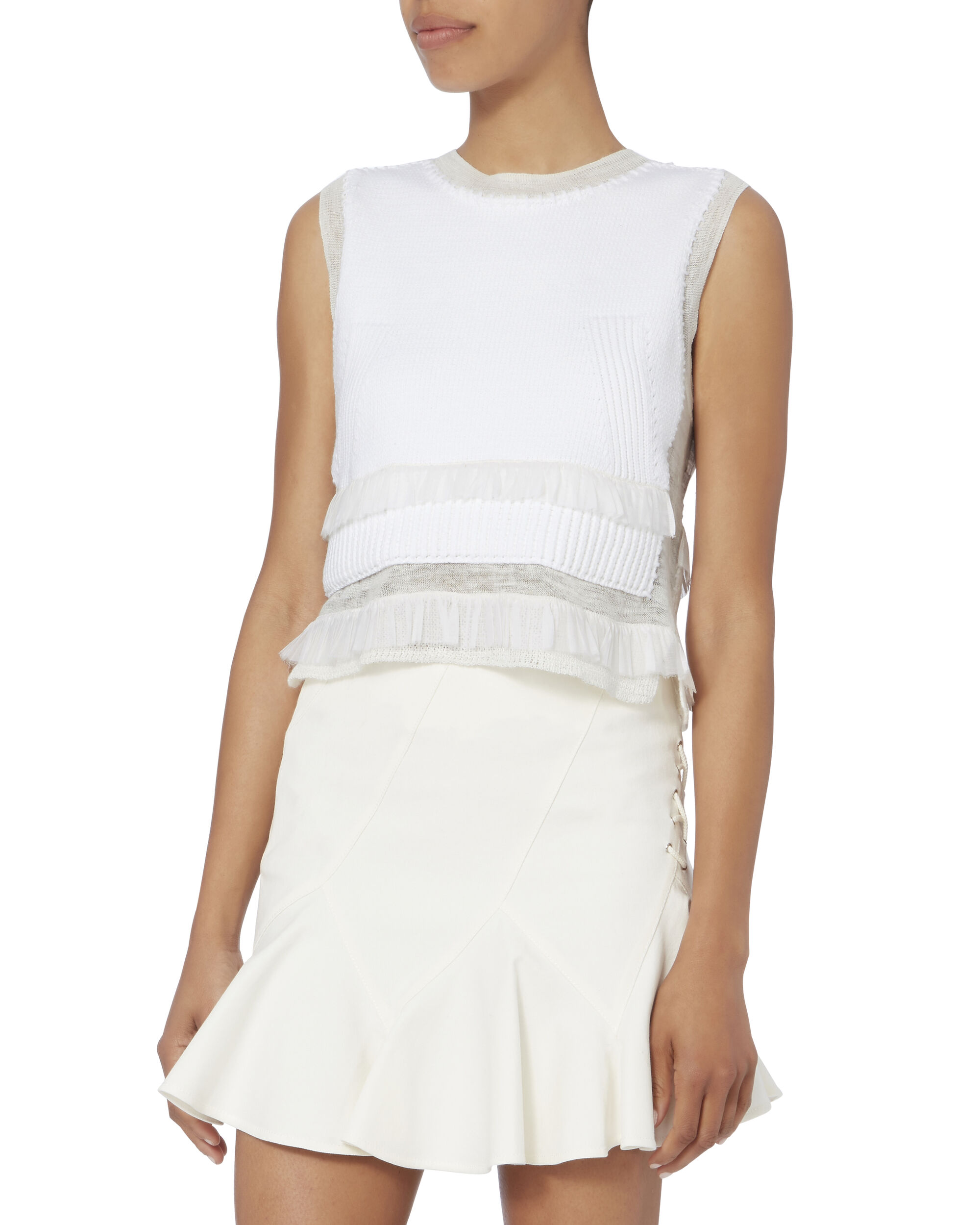 Sleeveless Knit Frill Crop Top, WHITE, hi-res