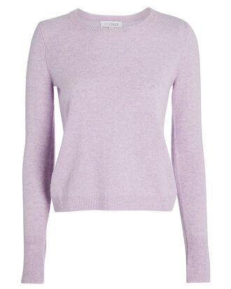 Valencia Cashmere Crewneck Sweater, HEATHERED LILAC, hi-res