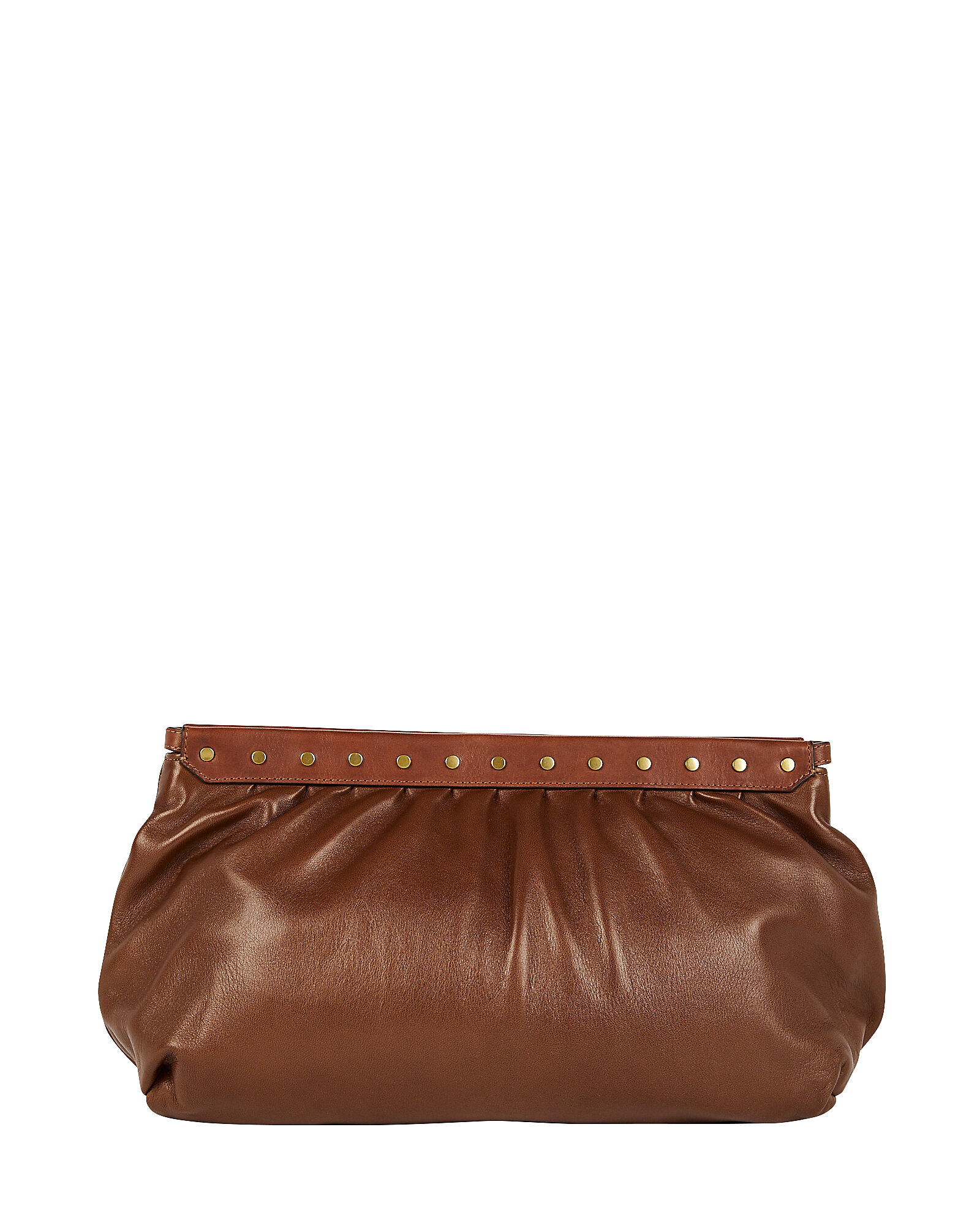 Luz Studded Leather Pouch, BROWN, hi-res