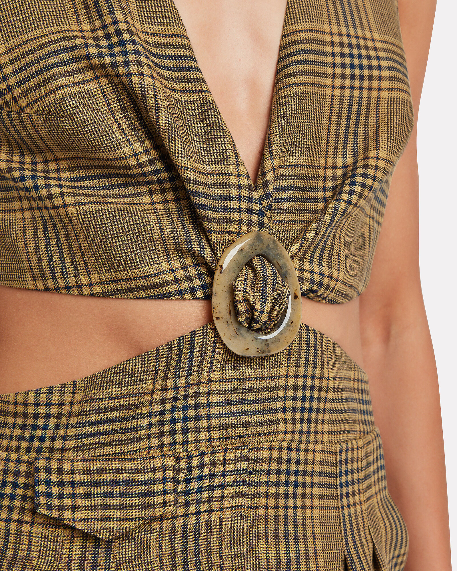 Amor Summer Tweed Cut-Out Jumpsuit, BROWN/CHECK, hi-res