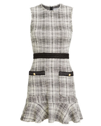 Elliotte Bouclé Tweed Mini Dress, BLACK/WHITE, hi-res