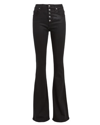 Beverly Coated Flare Jeans, BLACK, hi-res