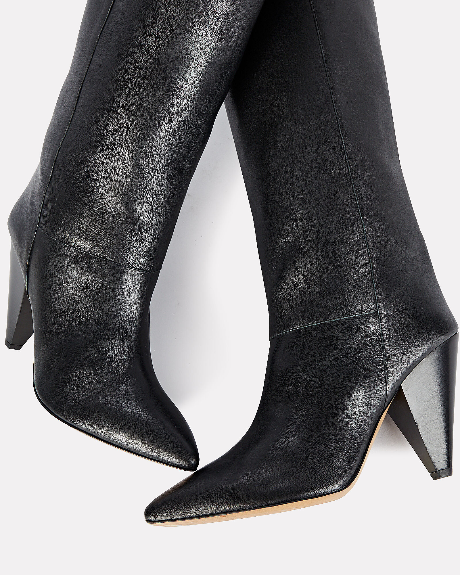 Loens Knee-High Leather Boots, BLACK, hi-res