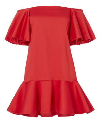 Aliana Off Shoulder Dress, RED, hi-res