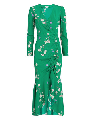 Aria Floral Printed Dress, EMERALD/FLORAL, hi-res