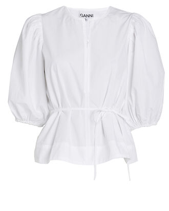 Cotton Poplin Puff Sleeve Top, WHITE, hi-res