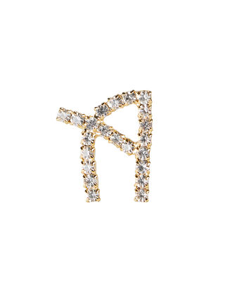 A Lettere Crystal Initial Earring, GOLD, hi-res