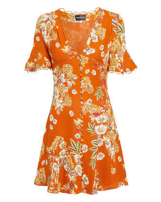 Orange Floral Godet Mini Dress, ORANGE, hi-res