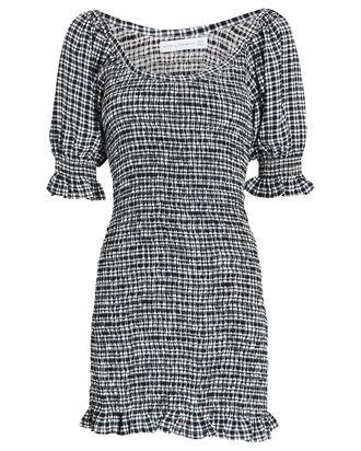 Constantia Smocked Check Mini Dress, Black/White, hi-res