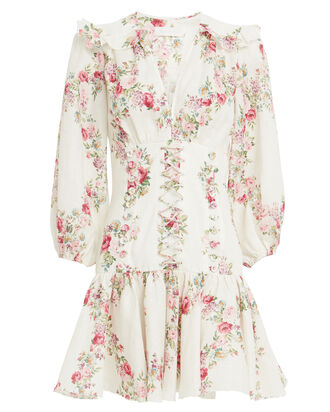 Honour Corset Floral Mini Dress, IVORY/FLORAL, hi-res
