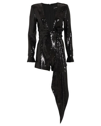 Katherine Sequin-Embellished Romper, BLACK, hi-res