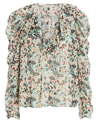Astrid Floral Lurex Blouse, CREAM/GREEN/BLUSH, hi-res