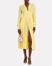 Tracy Button Front Midi Dress, YELLOW, hi-res