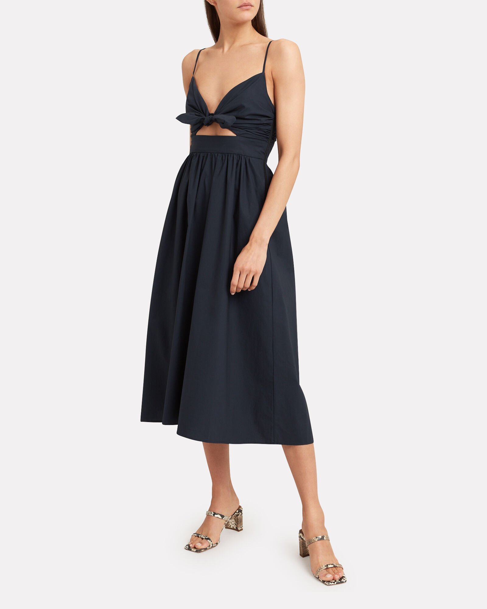 Daniela Twill Cut-Out Dress, NAVY, hi-res