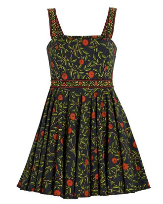 Azalea Embroidered Floral Mini Dress, BLACK/GREEN, hi-res