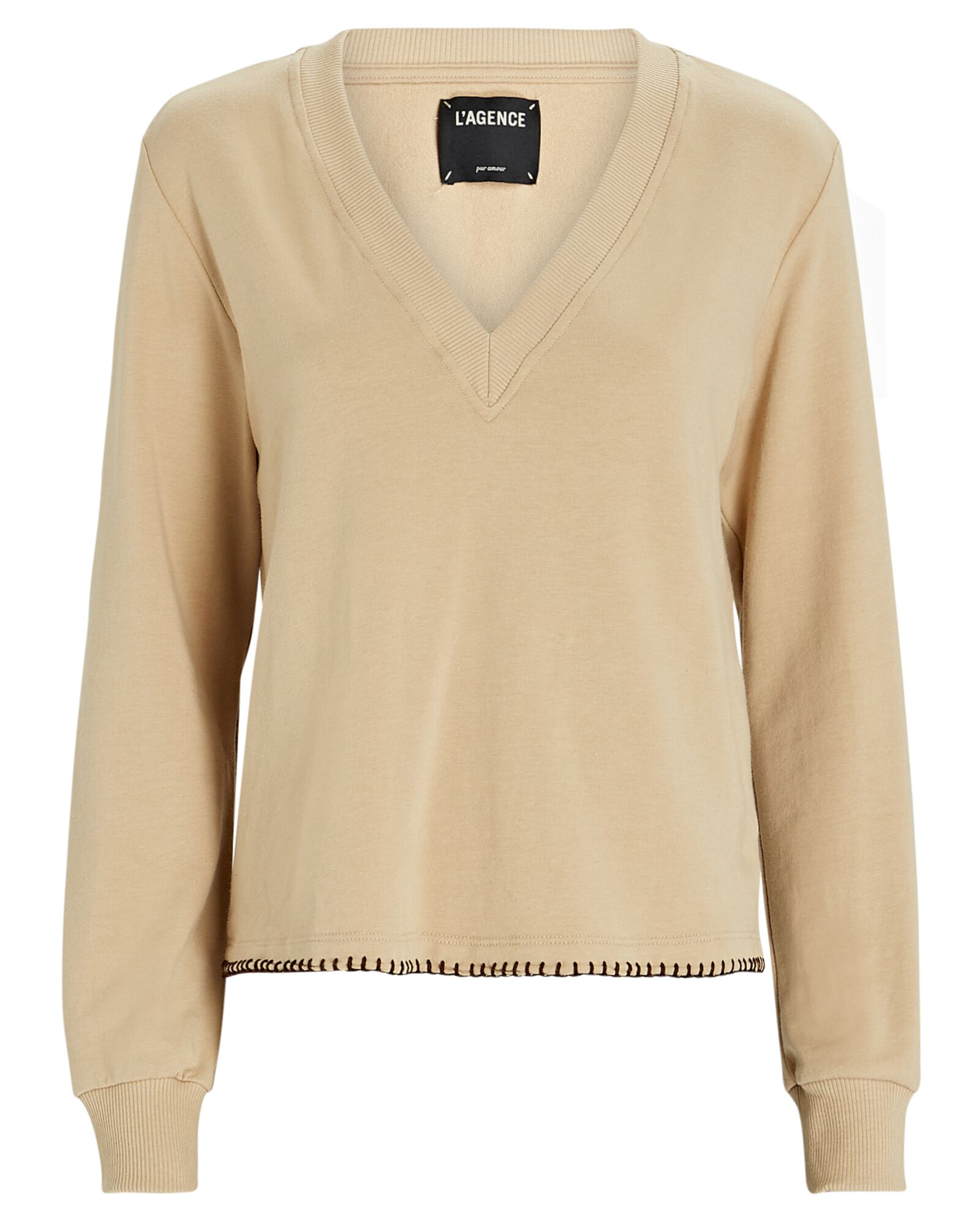 Helena V-Neck Cotton Sweatshirt, BEIGE, hi-res