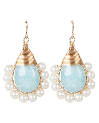Aquamarine Lolita Pearl Earrings, AQUA/GOLD, hi-res