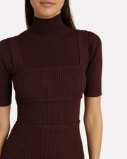 Turtleneck Knit Dress, RED-DRK, hi-res