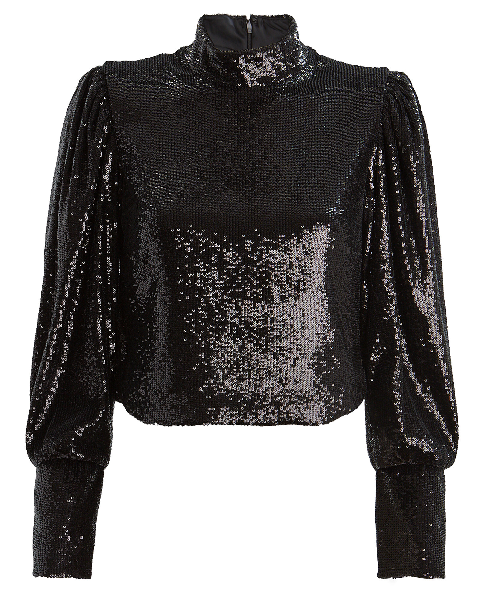 Margaret Sequin High Neck Blouse, BLACK, hi-res