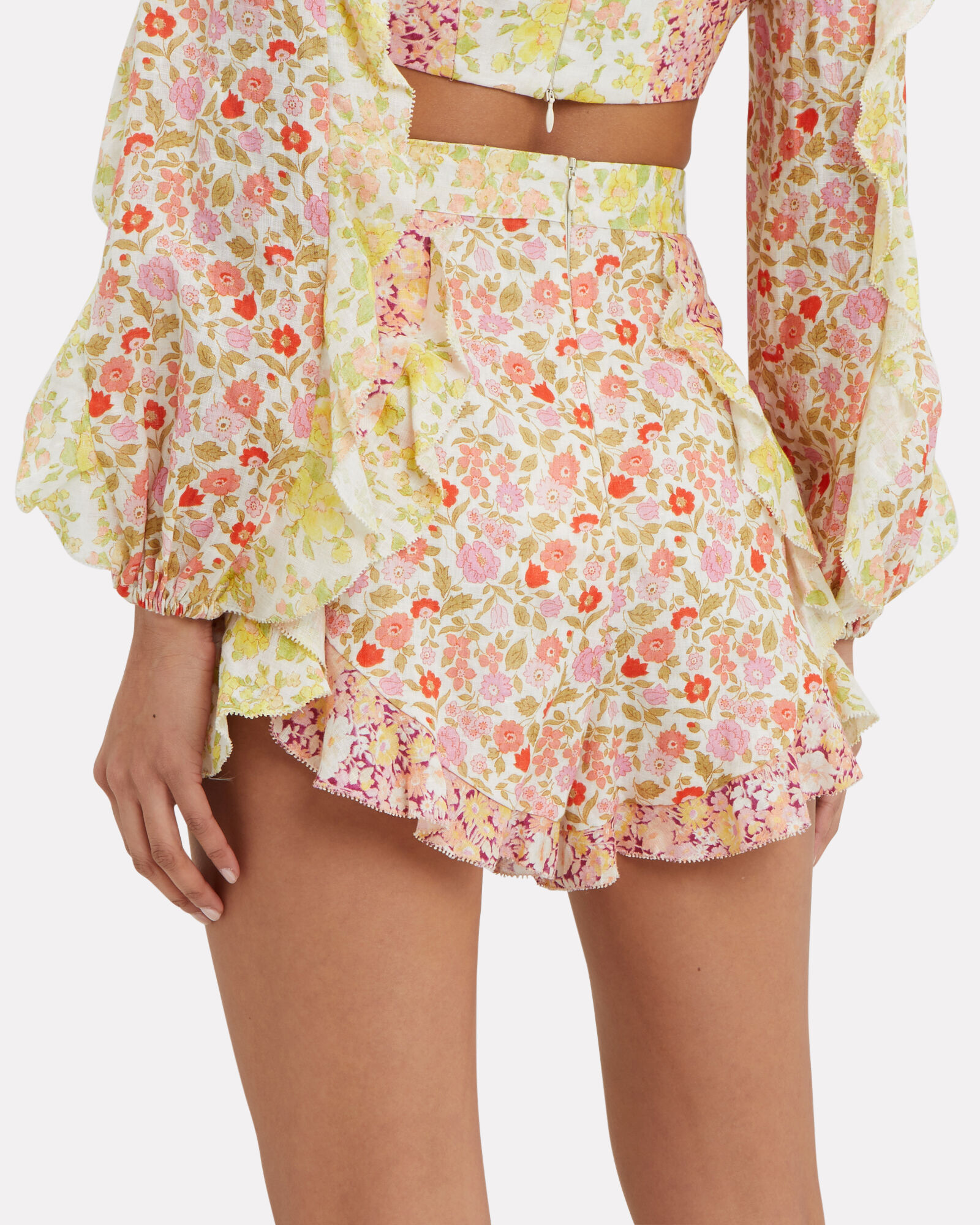 Goldie Floral Ruffle Patchwork Shorts, MULTI, hi-res