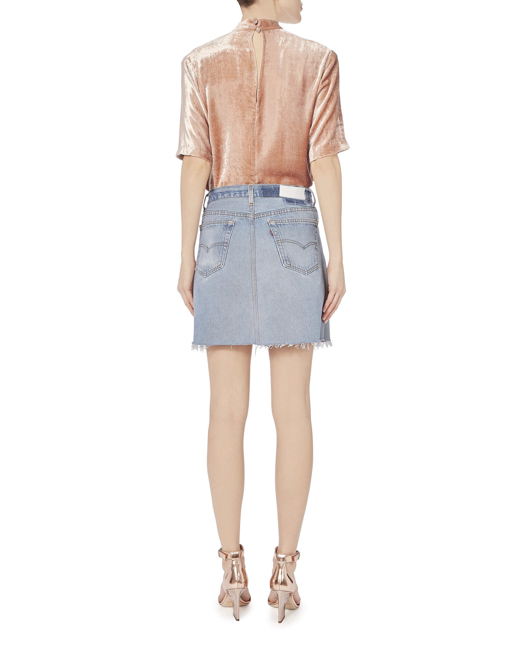 High-Rise Mini Skirt, DENIM, hi-res