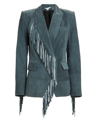 Pali Fringed Suede Dickey Jacket, GREEN, hi-res