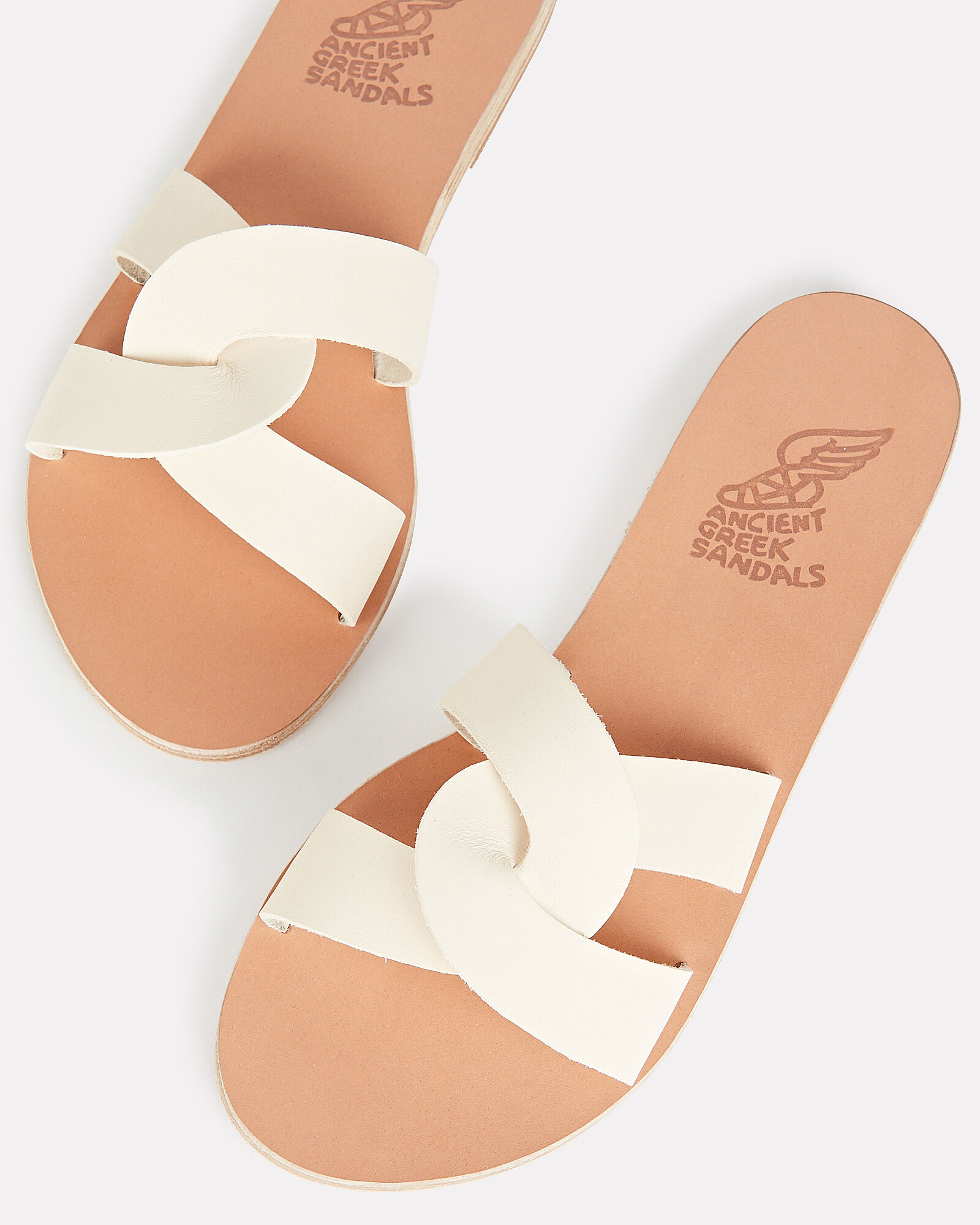 Desmos Leather Slide Sandals, IVORY, hi-res