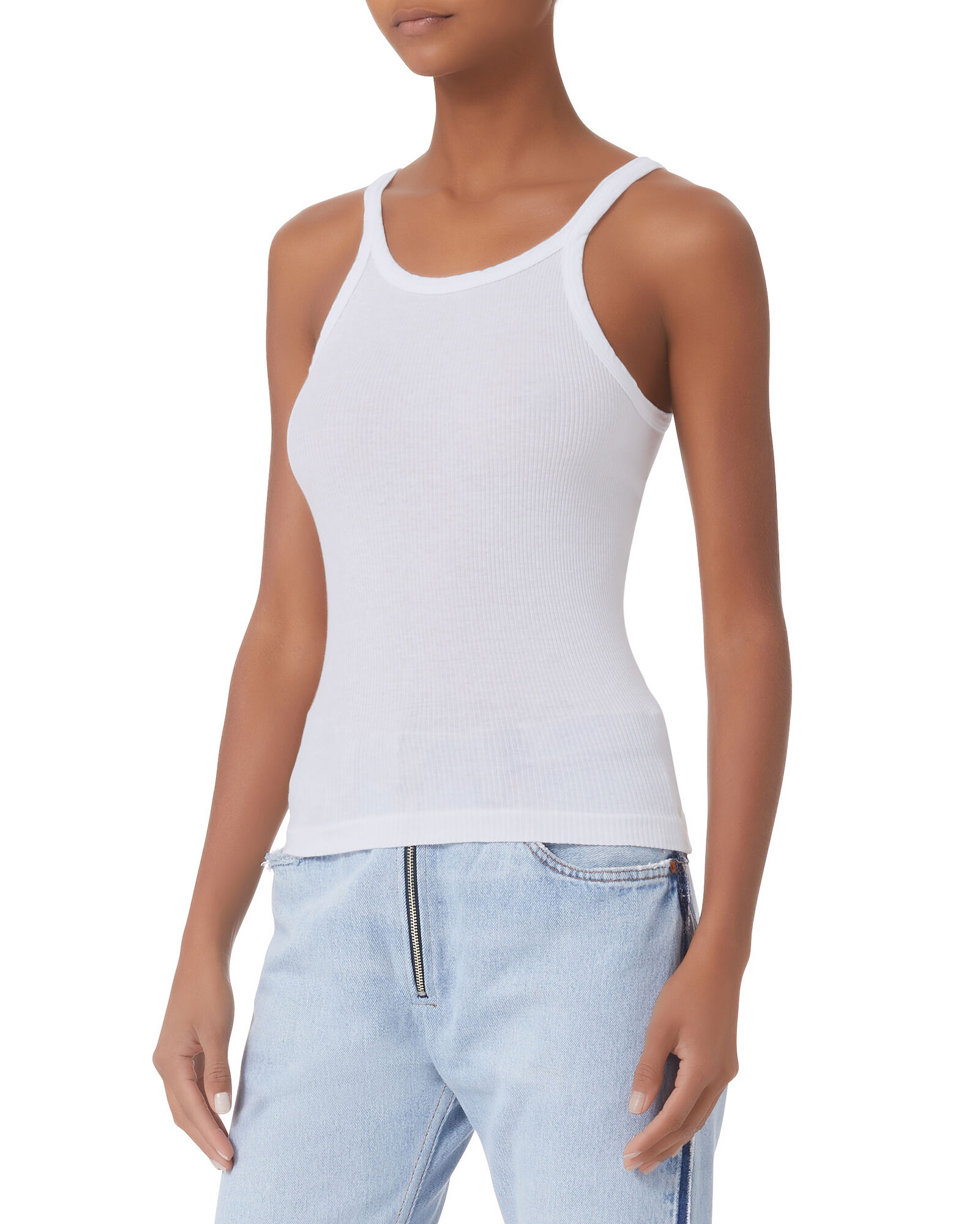 Rib Knit Tank Top, WHITE, hi-res