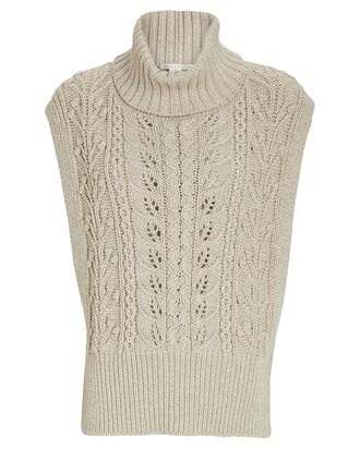 Collina Cable Knit Sweater Vest, IVORY, hi-res
