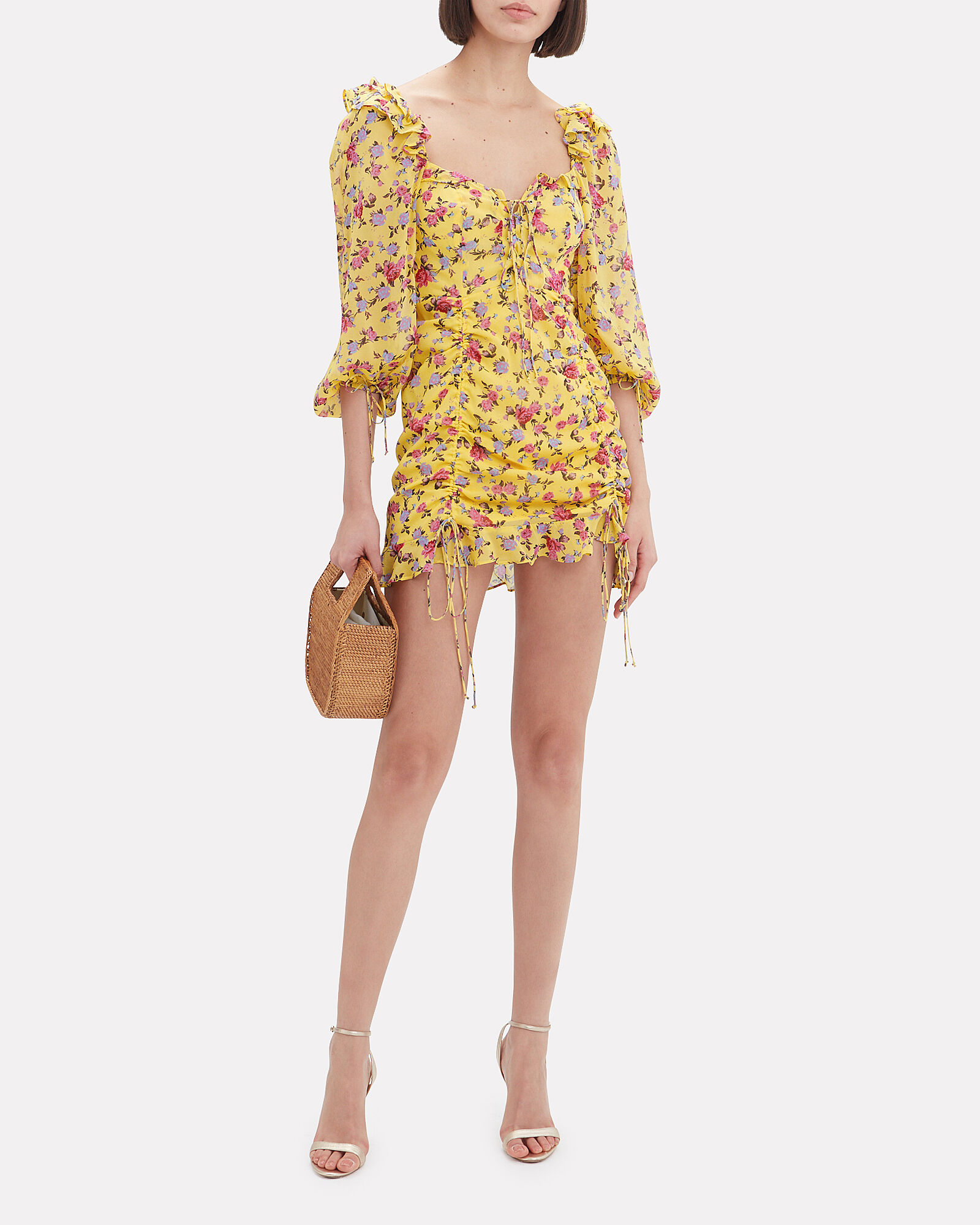 Beaumont Floral Silk Mini Dress, YELLOW, hi-res