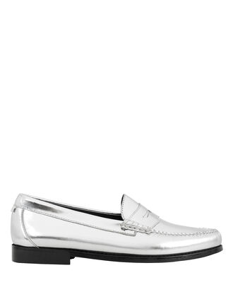 Whitney Metallic Silver Loafers, SILVER, hi-res