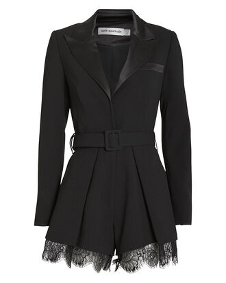 Tailored Crepe Playsuit, BLACK, hi-res