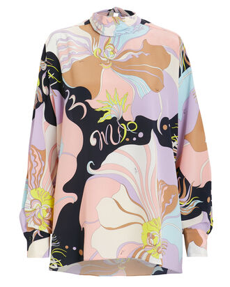 Silk Printed High Neck Top, PURPLE/PINK ABSTRACT, hi-res
