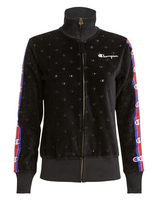 Velour Track Zip Jacket, BLACK, hi-res